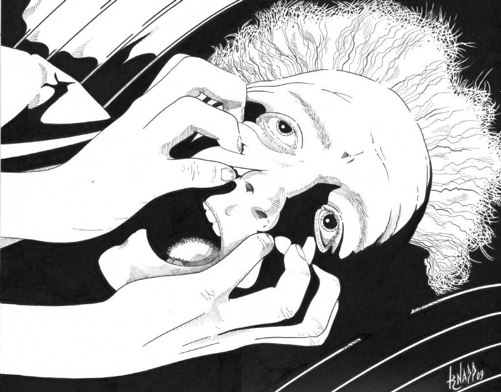 Original illustration for 'The Jaunt' (1981) in Twilight Zone Magazine (Artist: Nelson Knapp)