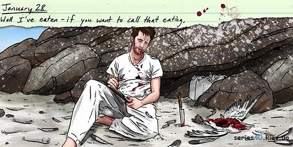 An illustration of Stephen King's 'Survivor Type' (Artist: Max Miller Dowdle/Artagem)
