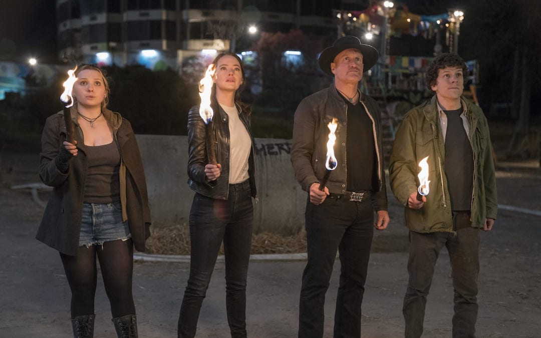L-R: Abigail Breslin (Little Rock), Emma Stone (Wichita), Woody Harrelson (Tallahassee) and Jesse Eisenberg (Columbus) in 'Zombieland: Double Tap' (Credit: Sony Pictures)