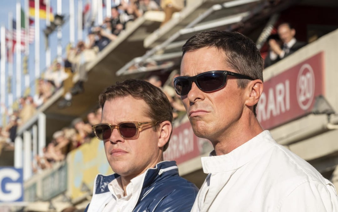 Matt Damon as Carroll Shelby and Christian Bale as Ken Miles in Fox/Disney's 'Ford v Ferrari'