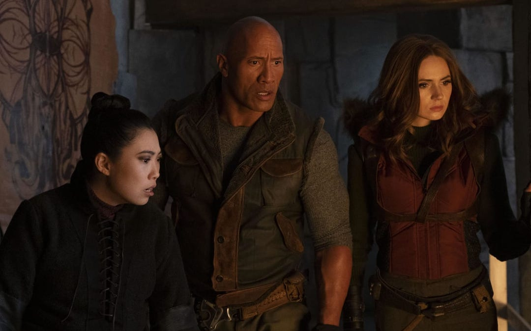 Awkwafina (Ming), Dwayne Johnson (Dr. Smolder Bravestone) and Karen Gillan (Ruby Roundhouse) in 'Jumanji: The Next Level' (Courtesy: Sony Pictures)