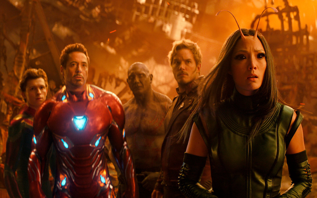 L-R: Tom Holland as Spider-Man, Robert Downey Jr. as Iron Man, Dave Bautista as Drax, Chris Pratt as Star-Lord and Pom Klementieff as Mantis in 'Avengers: Infinity War' (Courtesy: Marvel)
