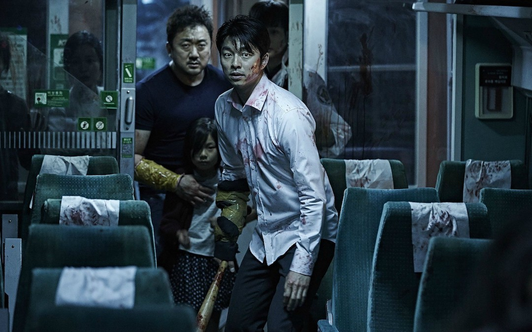 Front to back: Gong Yu (Seok-woo), Kim Su-an (Soo-an) and Ma Dong-seok (Sang-hwa) in 'Train to Busan'