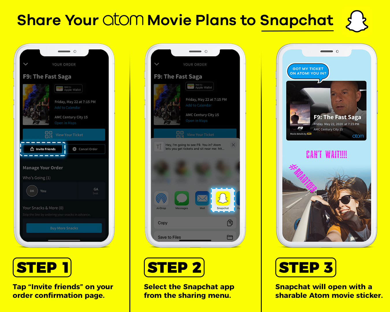 Invite friends to the movies using Snapchat